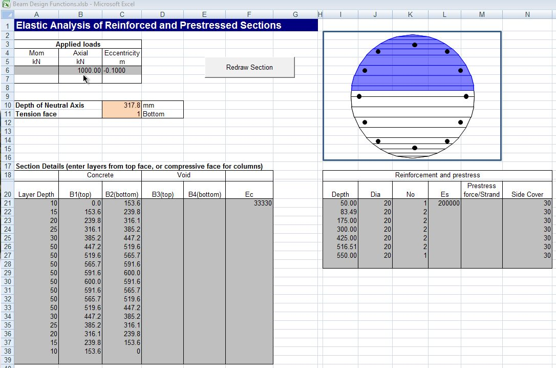 Reinforced Concrete Section Analysis – 3 | Newton Excel Bach, not
