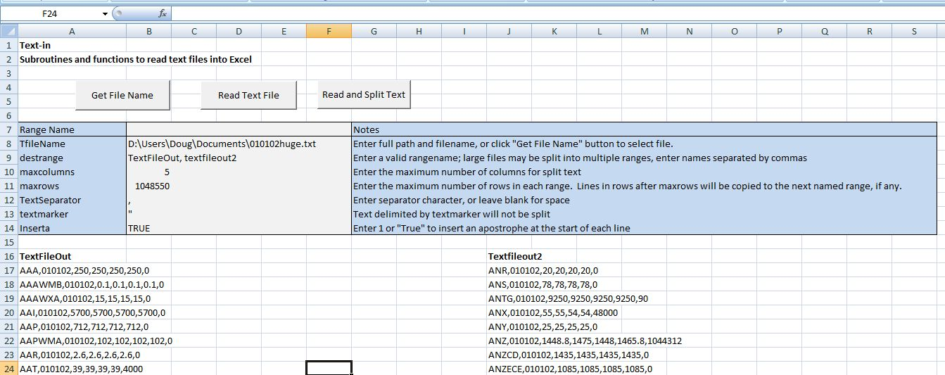 excel read text file