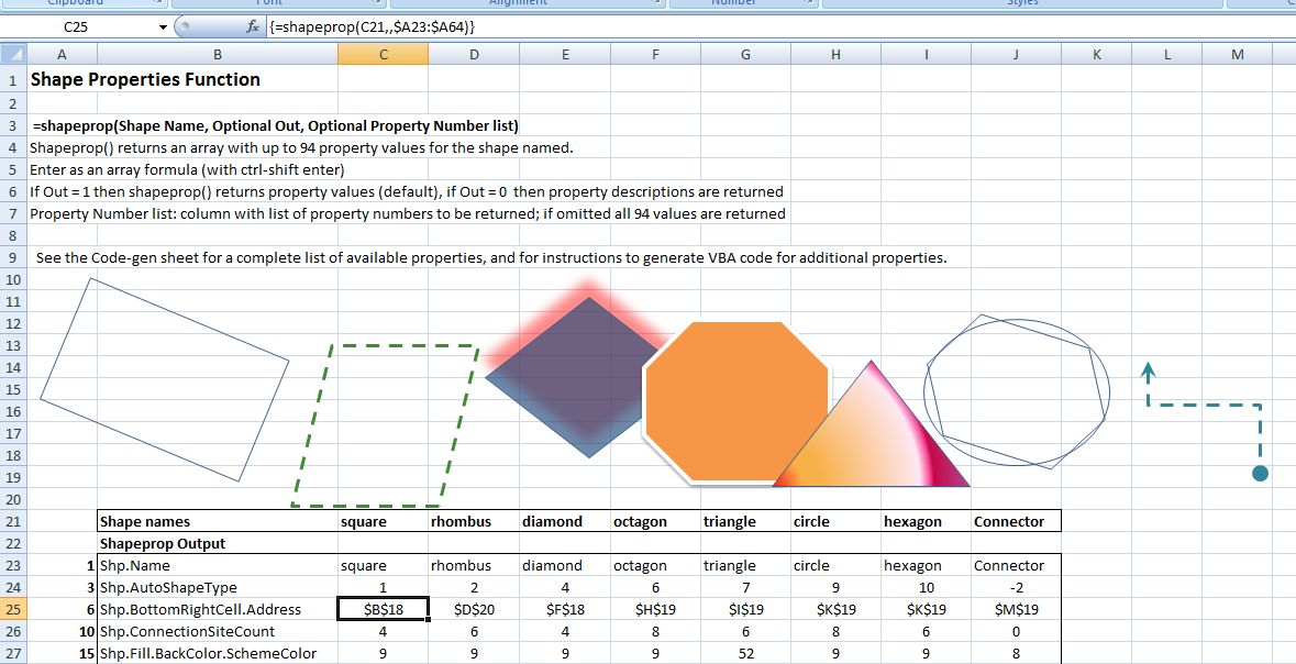 Drawing in Excel 6 – getting shape properties | Newton Excel Bach