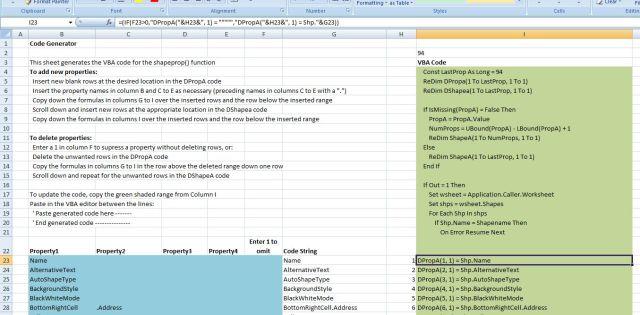 ShapeProp() code generation sheet