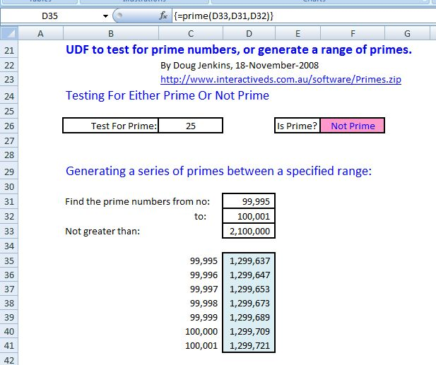 A UDF to generate a sequence of primes