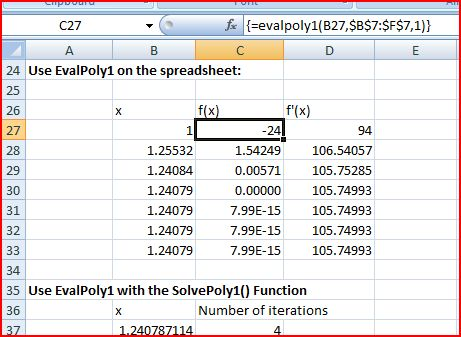 Solution using EvalPoly1 on the spreadsheet, and the UDF SolvePoly1