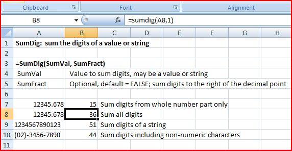 SumDig Function