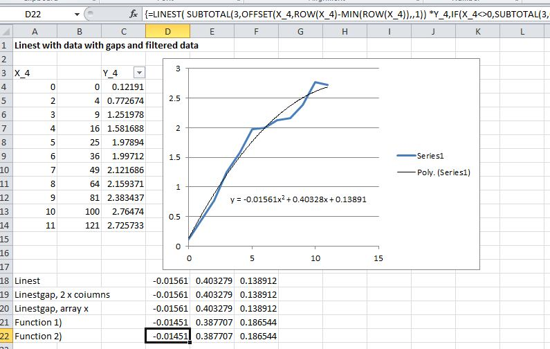 Using LinEst() on data with gaps | Newton Excel Bach, not