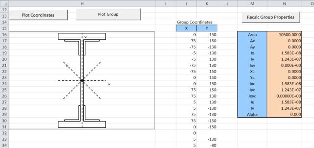 Resulting group and section properties