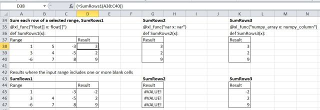 SumRows functions