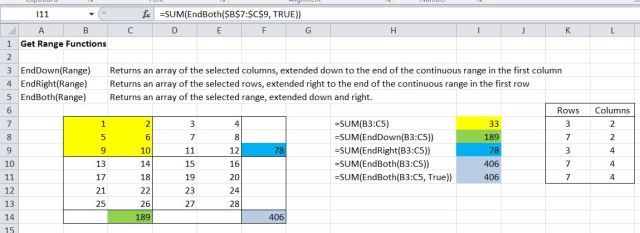 EndDown, EndRight and EndBoth functions combined with Sum function