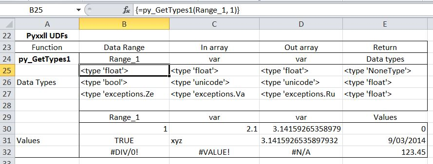 Transfer of arrays to/from Python with Pyxll – Part1