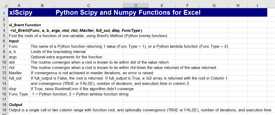 xlSciPy – Python SciPy for Excel