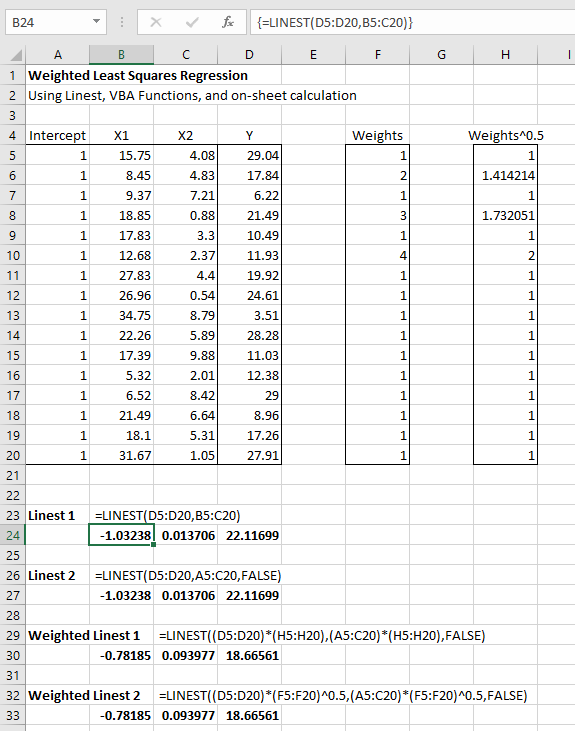 Weighted Least Squares Regression, using Excel, VBA, Alglib