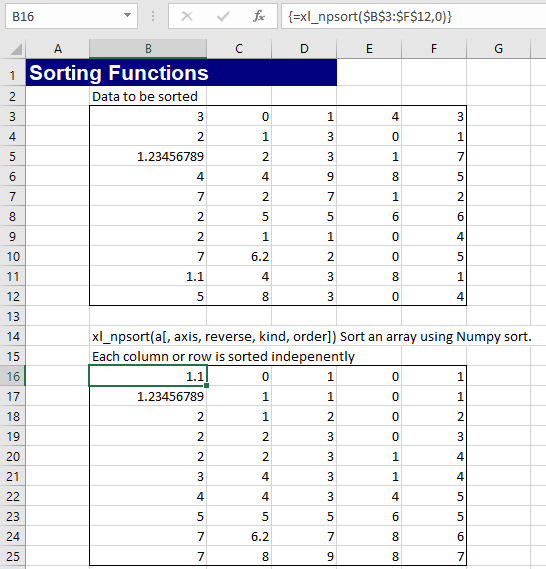 Sorting with Python and Numpy   Newton Excel Bach, not (just