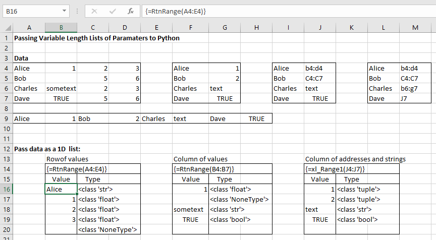 Passing variable argument lists from Excel to Python via
